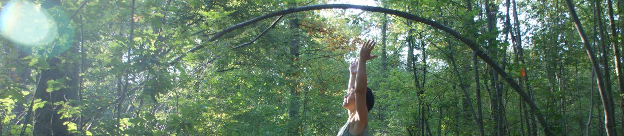 Yogaübung im Wald
